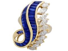 1980s 2.73 Carat Sapphire and 2.97 Carat Diamond Yellow Gold Cocktail Ring