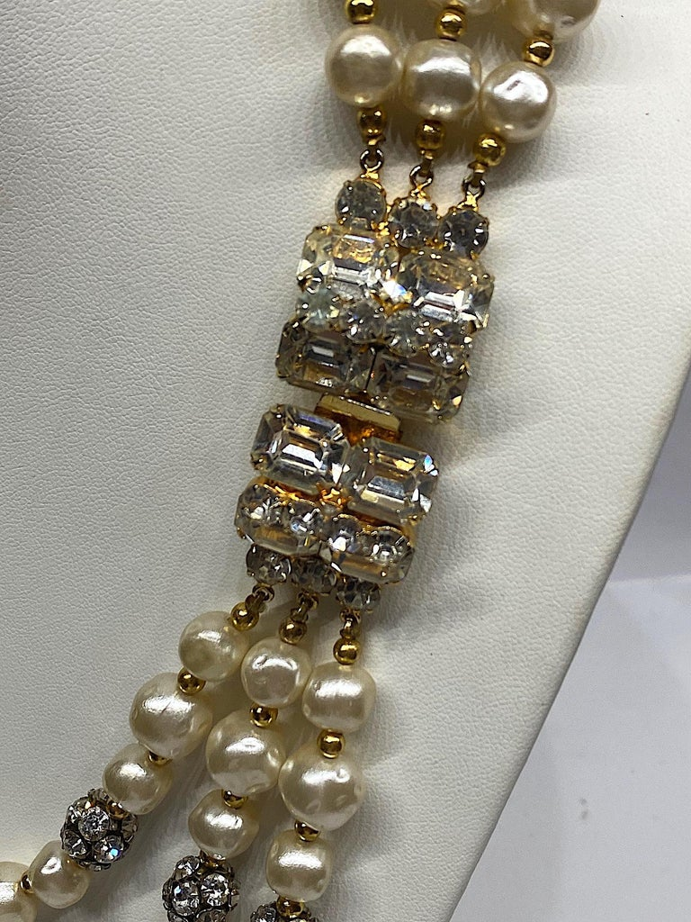 1980s 3 Strand Pearl and Rhinestone Long Necklace For Sale 8