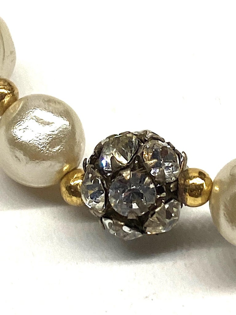 1980s 3 Strand Pearl and Rhinestone Long Necklace For Sale 10