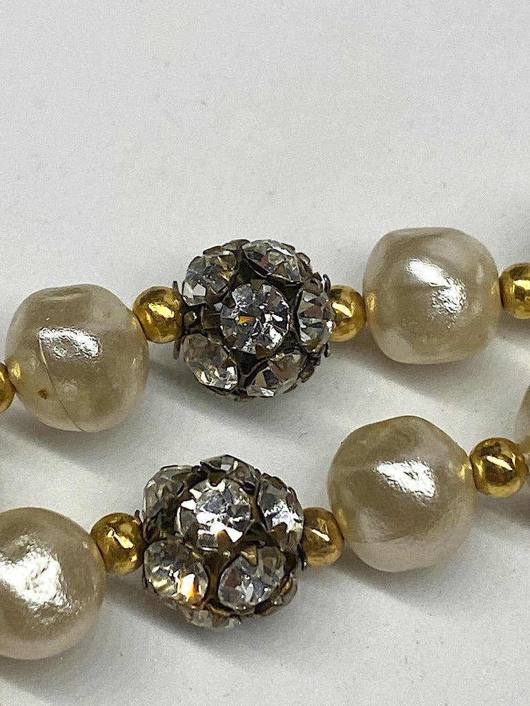 1980s 3 Strand Pearl and Rhinestone Long Necklace For Sale 12