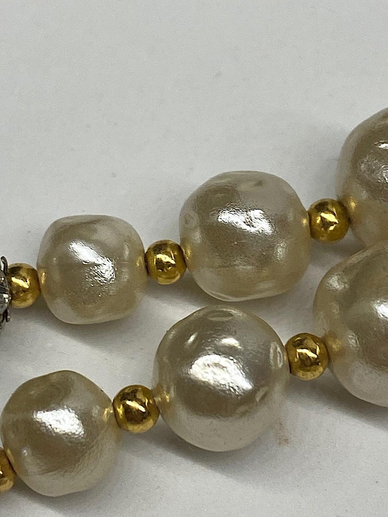 1980s 3 Strand Pearl and Rhinestone Long Necklace For Sale 16