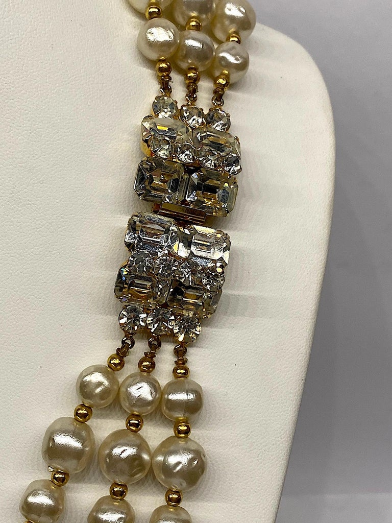 Women's 1980s 3 Strand Pearl and Rhinestone Long Necklace For Sale