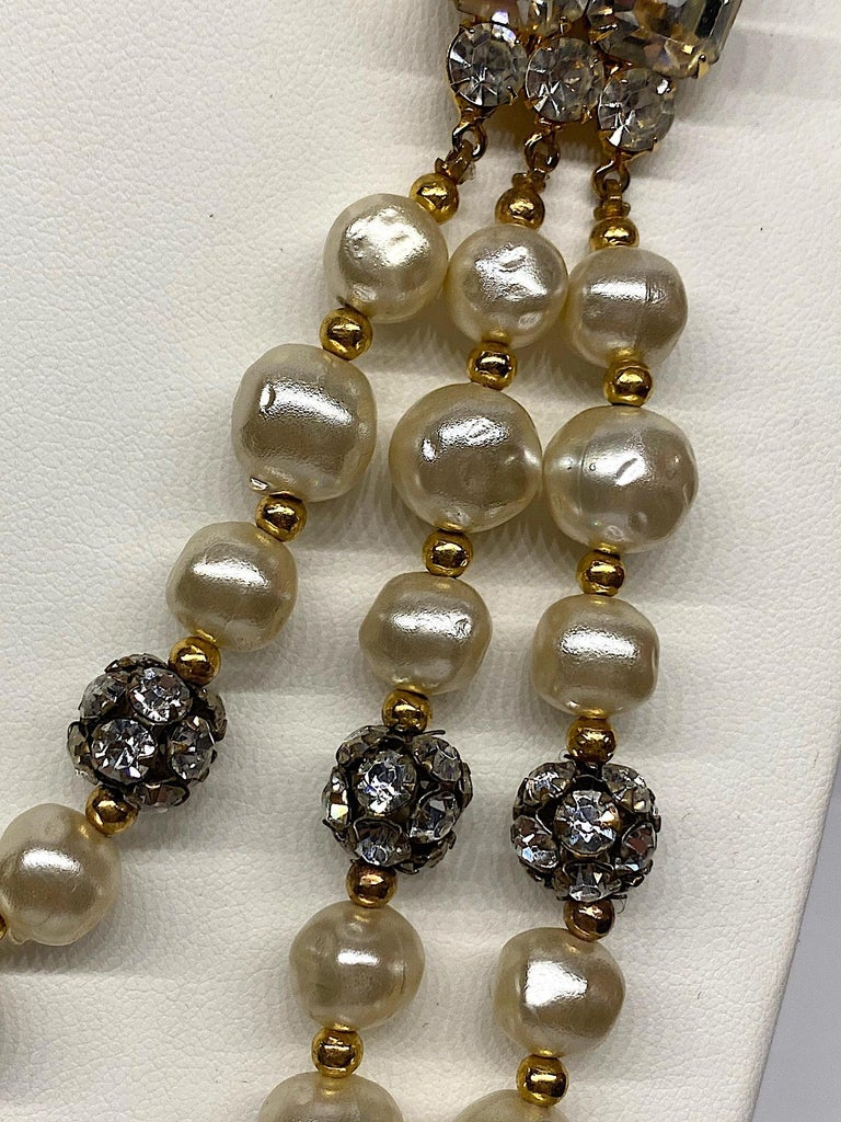 1980s 3 Strand Pearl and Rhinestone Long Necklace For Sale 1