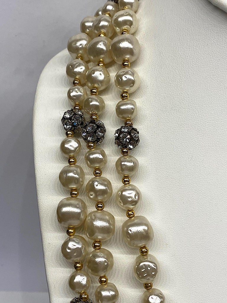 1980s 3 Strand Pearl and Rhinestone Long Necklace For Sale 2