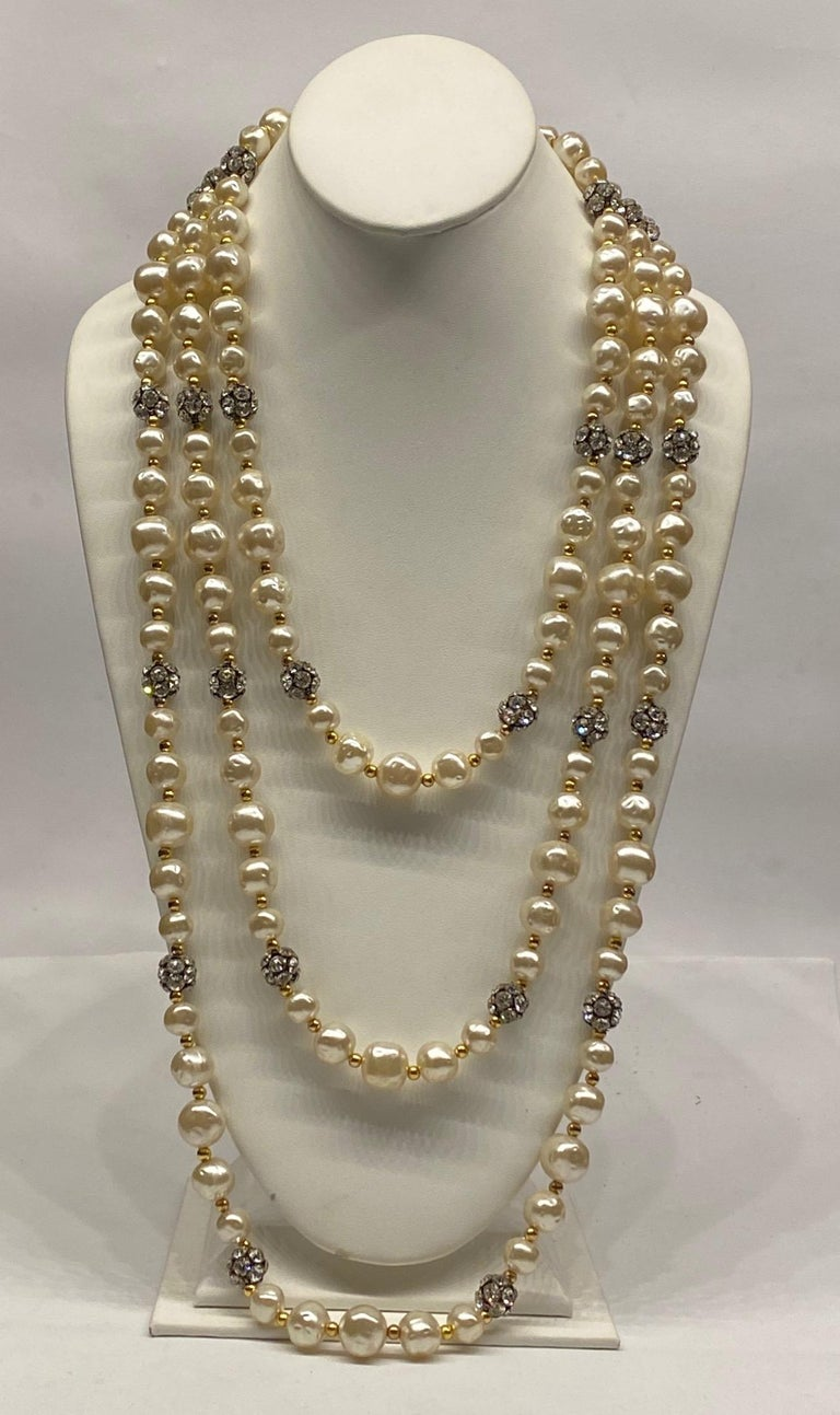 1980s 3 Strand Pearl and Rhinestone Long Necklace For Sale 5