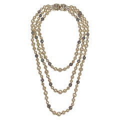 1980s 3 Strand Pearl and Rhinestone Long Necklace