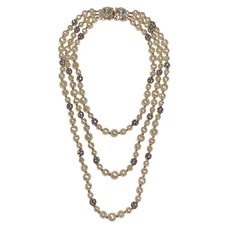 1980s 3 Strand Pearl and Rhinestone Long Necklace For Sale