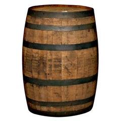 1980s 30 Gallon Oak Whiskey Barrel with Steel Straps