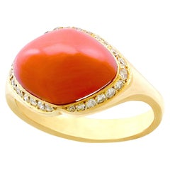 1980s 3.67 Carat Pink Coral and Diamond Yellow Gold Dress Ring
