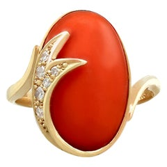 1980s 5.42 Carat Coral and Diamond Yellow Gold Dress Ring