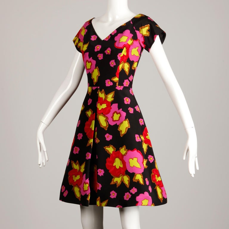 1980s-90s Arnold Scaasi Vintage Bright Pink Red Black Floral Print Silk Dress In Excellent Condition For Sale In Sparks, NV