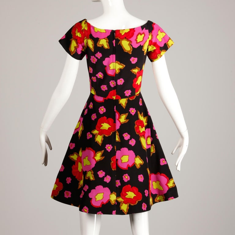1980s-90s Arnold Scaasi Vintage Bright Pink Red Black Floral Print Silk Dress For Sale 2