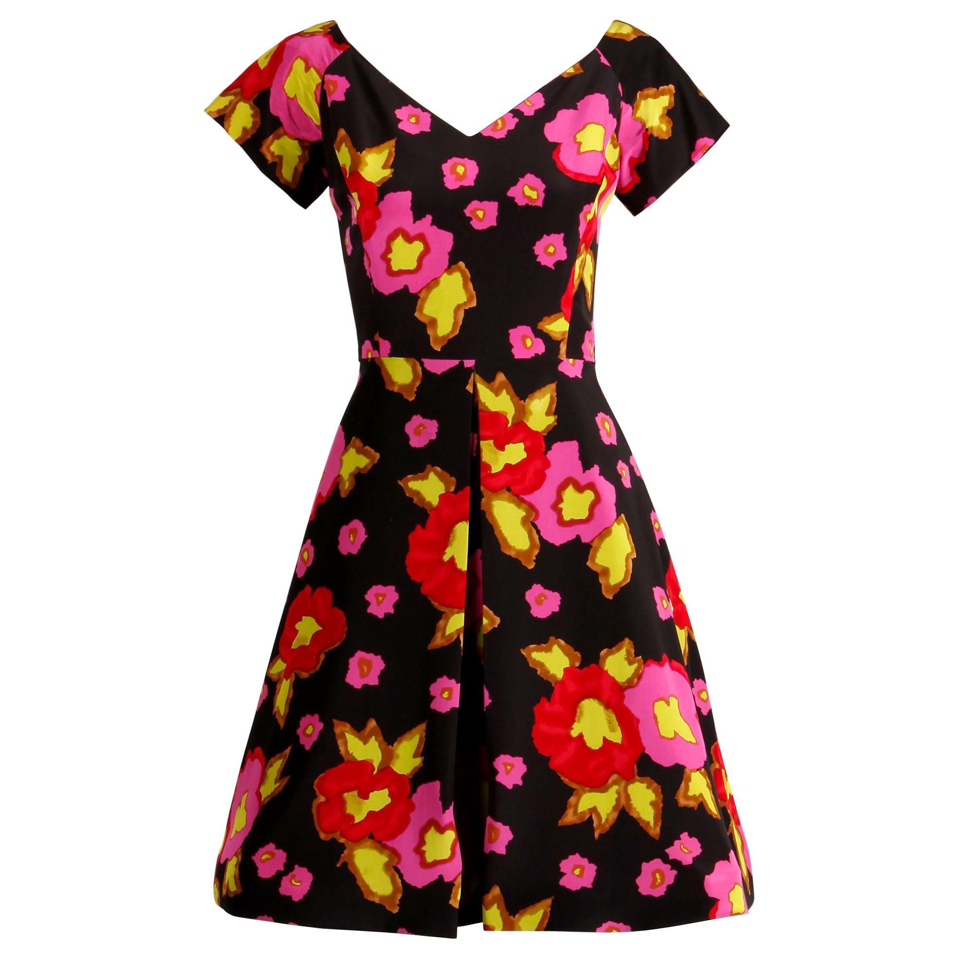 1980s-90s Arnold Scaasi Vintage Bright Pink Red Black Floral Print Silk Dress