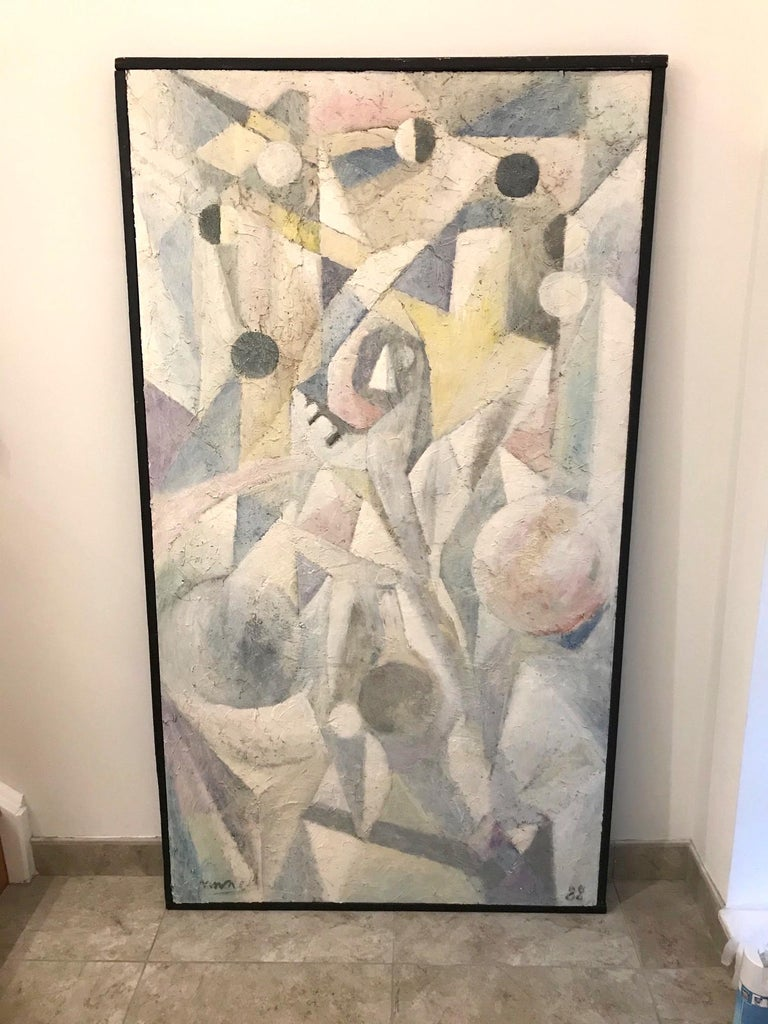 1980's Abstract Painting in Pastel Colors, Impasto Mixed-Media on Board For Sale 2