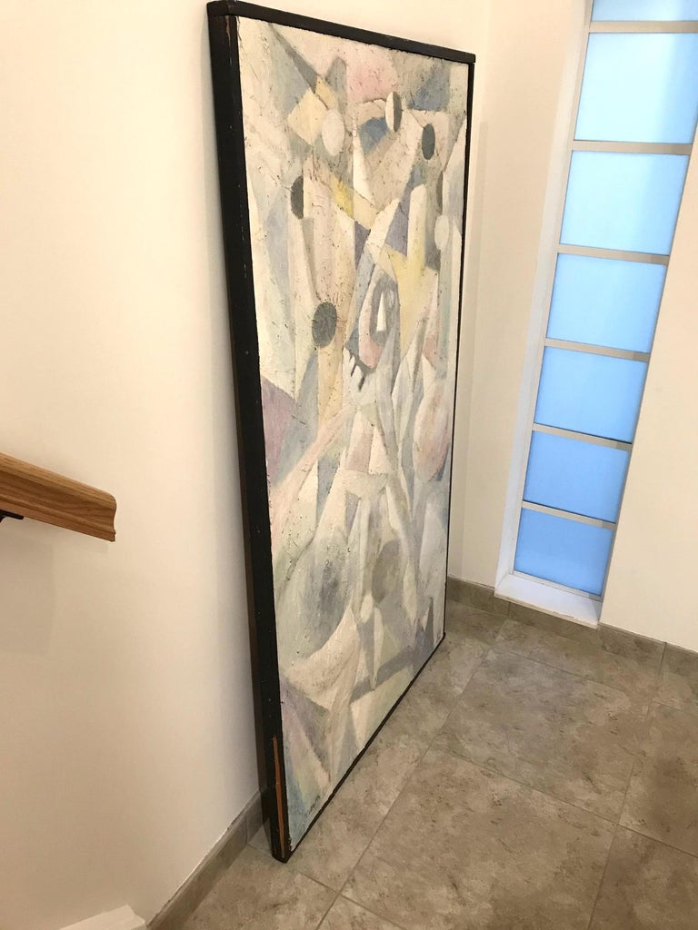 1980's Abstract Painting in Pastel Colors, Impasto Mixed-Media on Board For Sale 3