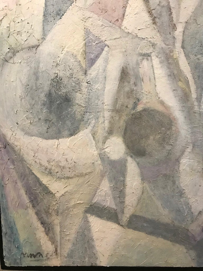 1980's Abstract Painting in Pastel Colors, Impasto Mixed-Media on Board For Sale 5