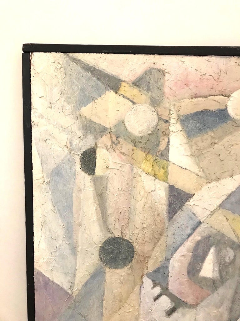 1980's Abstract Painting in Pastel Colors, Impasto Mixed-Media on Board For Sale 6