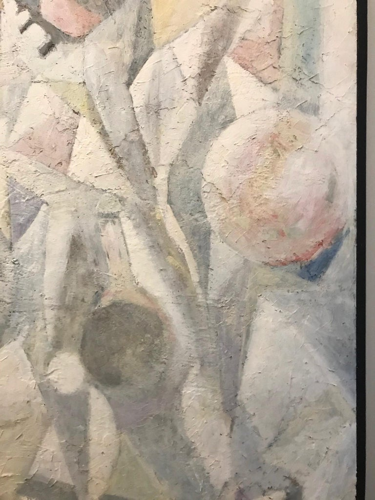 1980's Abstract Painting in Pastel Colors, Impasto Mixed-Media on Board For Sale 7