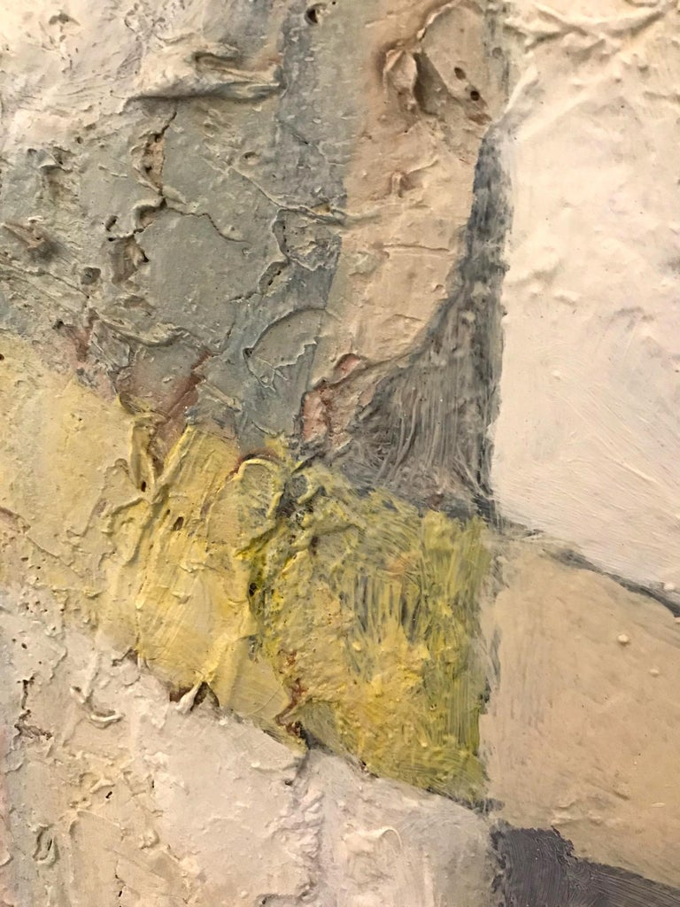 1980's Abstract Painting in Pastel Colors, Impasto Mixed-Media on Board For Sale 8