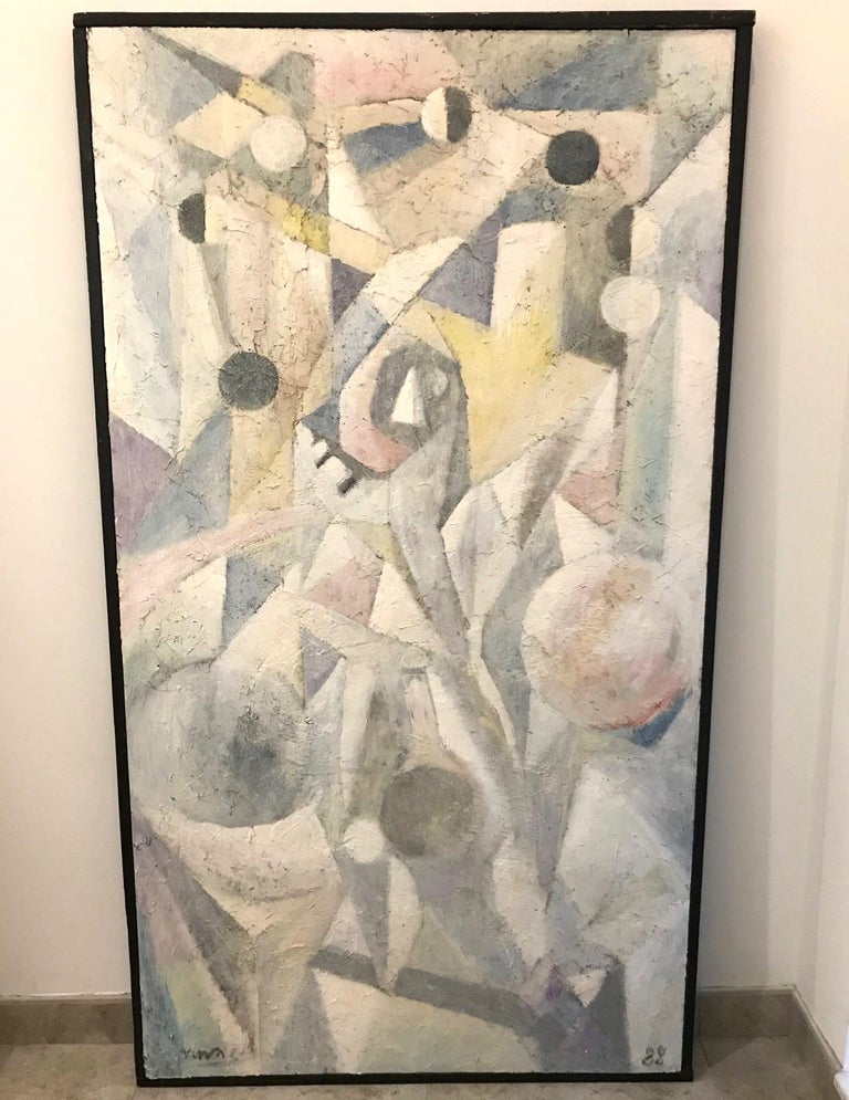 Post-Modern 1980's Abstract Painting in Pastel Colors, Impasto Mixed-Media on Board For Sale