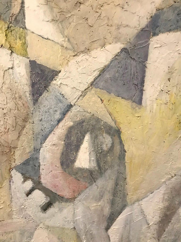 European 1980's Abstract Painting in Pastel Colors, Impasto Mixed-Media on Board For Sale