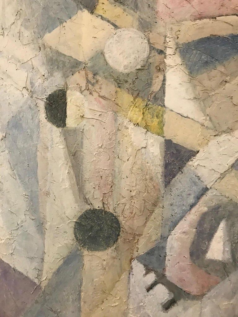 Late 20th Century 1980's Abstract Painting in Pastel Colors, Impasto Mixed-Media on Board For Sale