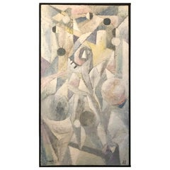1980's Abstract Painting in Pastel Colors, Impasto Mixed-Media on Board