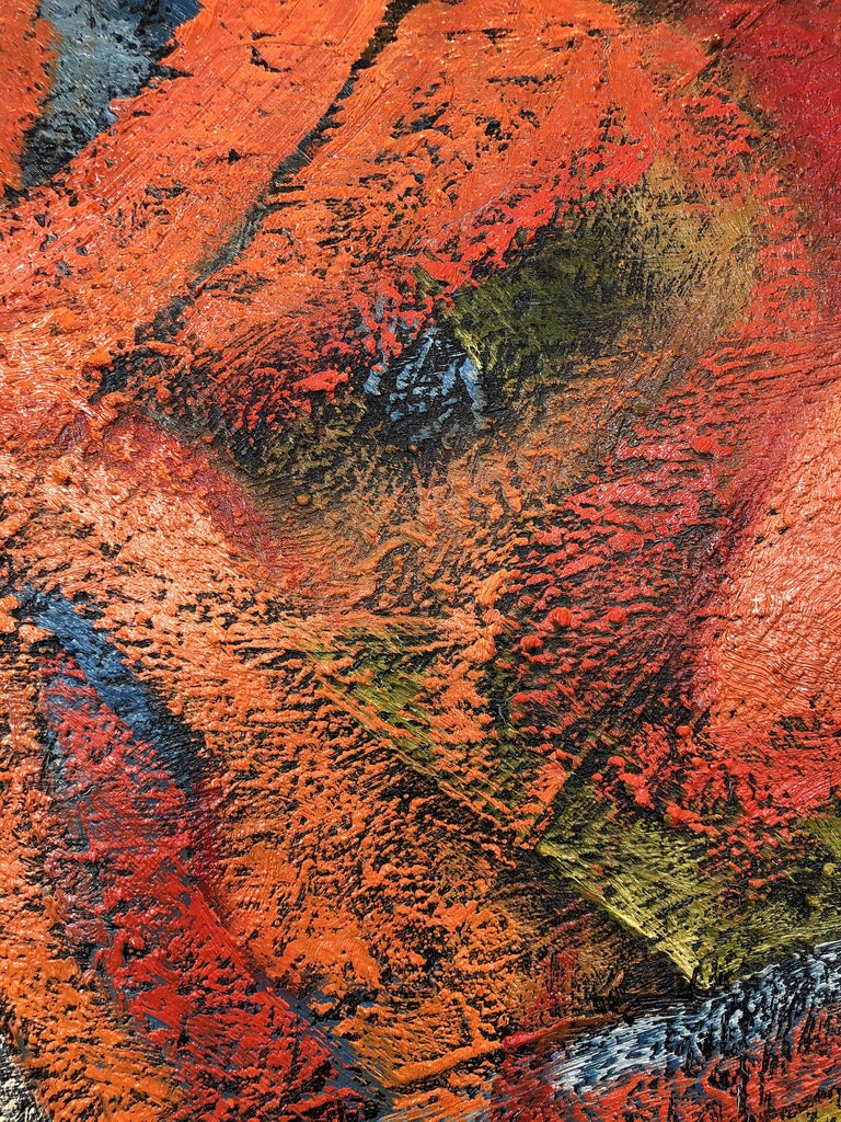 Hand-Painted 1980s Abstract Painting with Heavy Impasto Textures For Sale