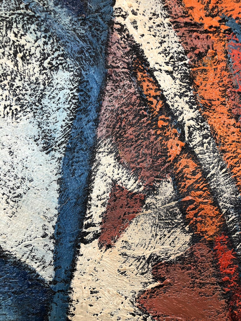 1980s Abstract Painting with Heavy Impasto Textures In Good Condition For Sale In Miami, FL
