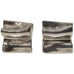1980s Abstract Sculptural Sterling Silver Modernist Earrings