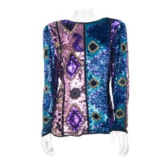 1980s Abstract Sequin and Beaded Top