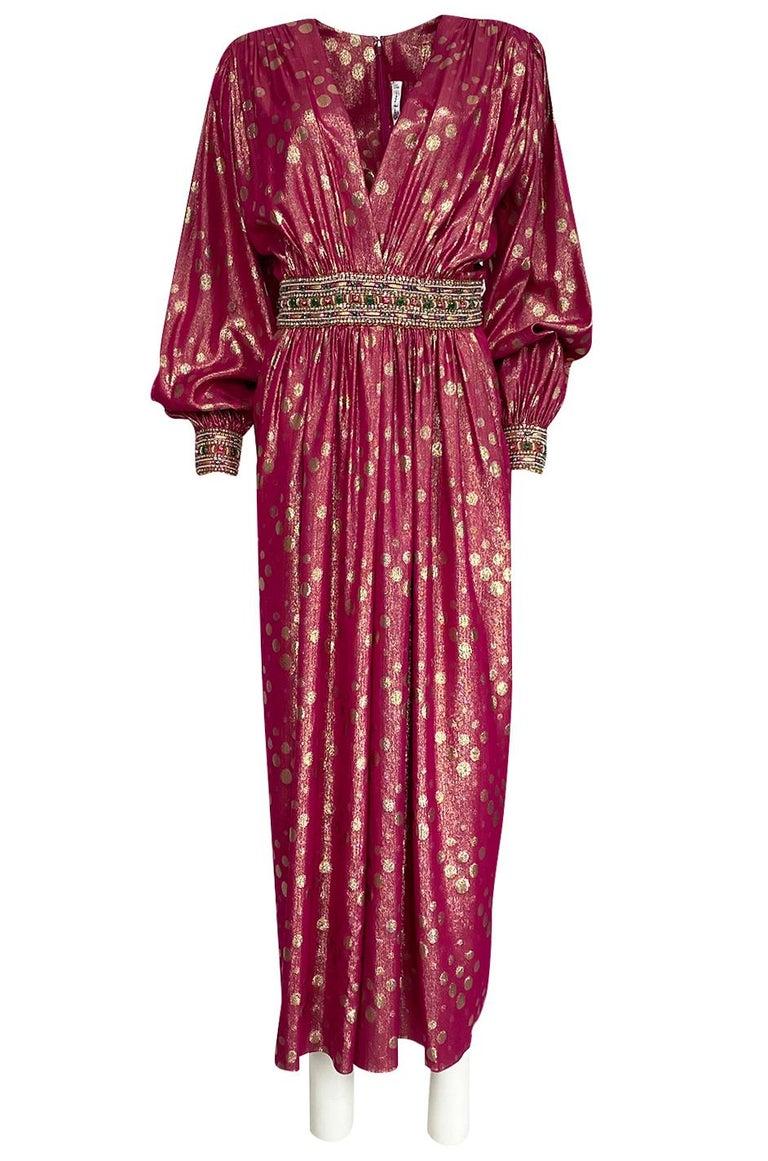 Orange Chiffon Its Fashion Metro Blouses Dark Brown: 1980s Adele Simpson Pink And Gold Metallic Lame Beaded