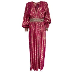 1980s Adele Simpson Pink & Gold Metallic Lame Beaded Dress w Beading