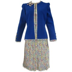 1980s Adolfo Primary Colors Print Silk Skirt Top and Blue Bouclé Jacket
