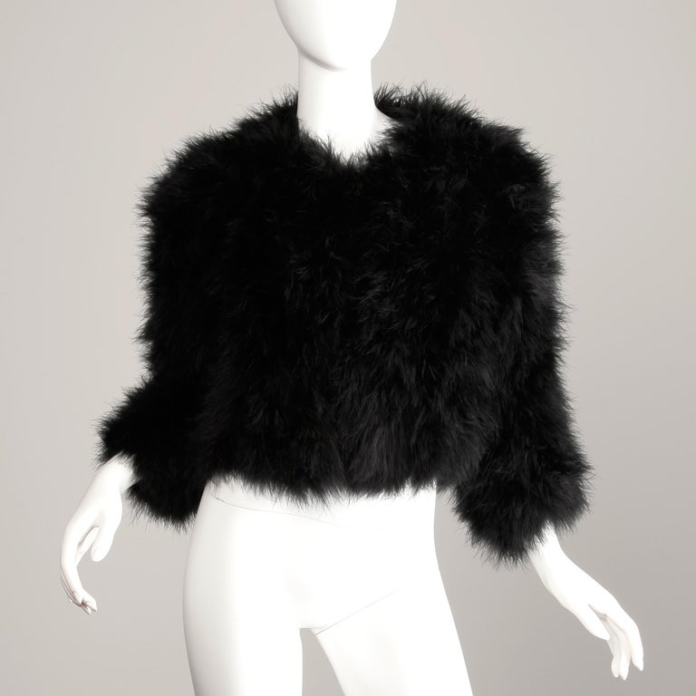 Women's 1980s Adrienne Landau Vintage Black Marabou Feather