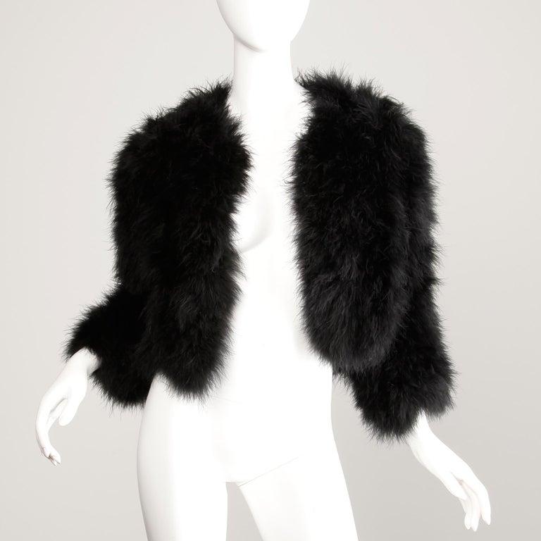1980s Adrienne Landau Vintage Black Marabou Feather