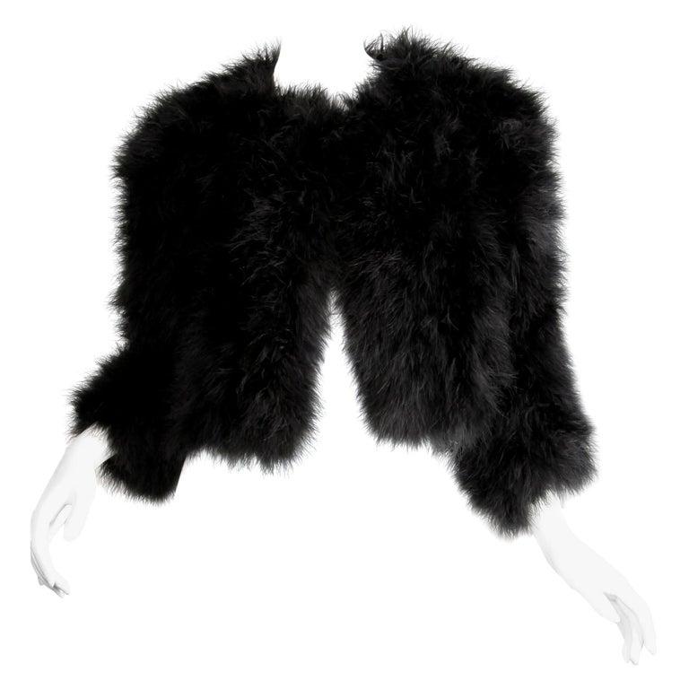 "1980s Adrienne Landau Vintage Black Marabou Feather ""Fur"" Runway Jacket For Sale"