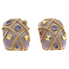 1980s Agate Sapphire 18 Karat Gold Cage Ear Clips