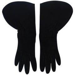1980s Alaia Black Suede Gauntlet Gloves