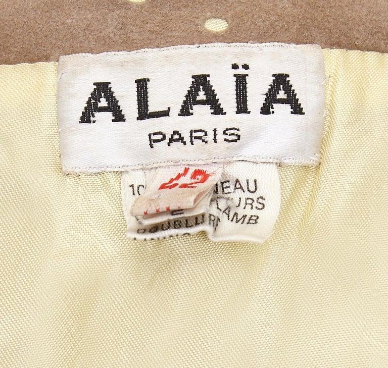 Women's 1980s Alaïa Khaki Lambskin Jacket For Sale