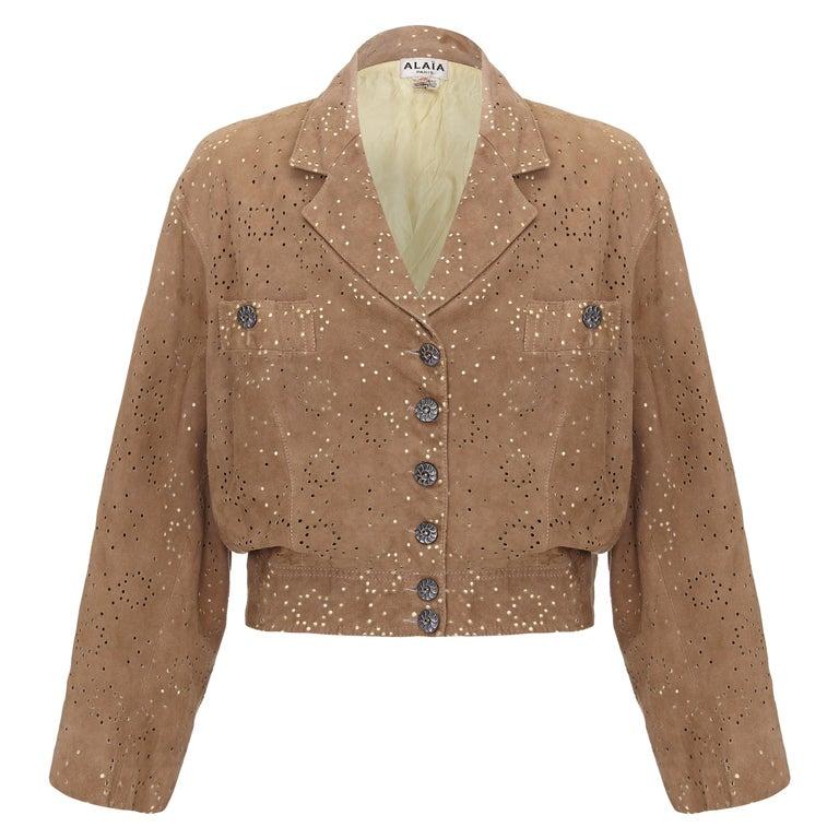 1980s Alaïa Khaki Lambskin Jacket For Sale