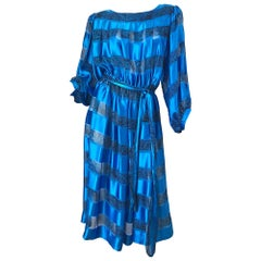 1980s Albert Nipon Size 10 Blue Silk Abstract Stiped Vintage 80s Belted Dress