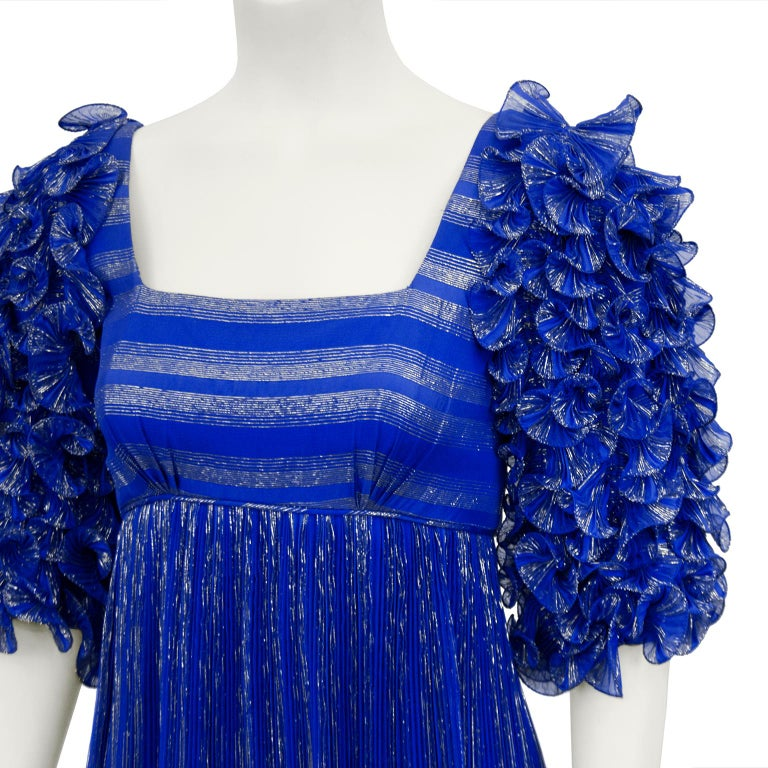 Women's 1980's Alfred Bosand Royal Blue and Gold Dynasty Inspired Column Gown For Sale