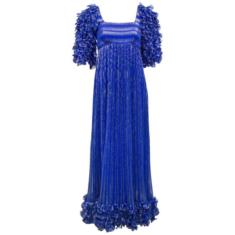 1980's Alfred Bosand Royal Blue and Gold Dynasty Inspired Column Gown For Sale