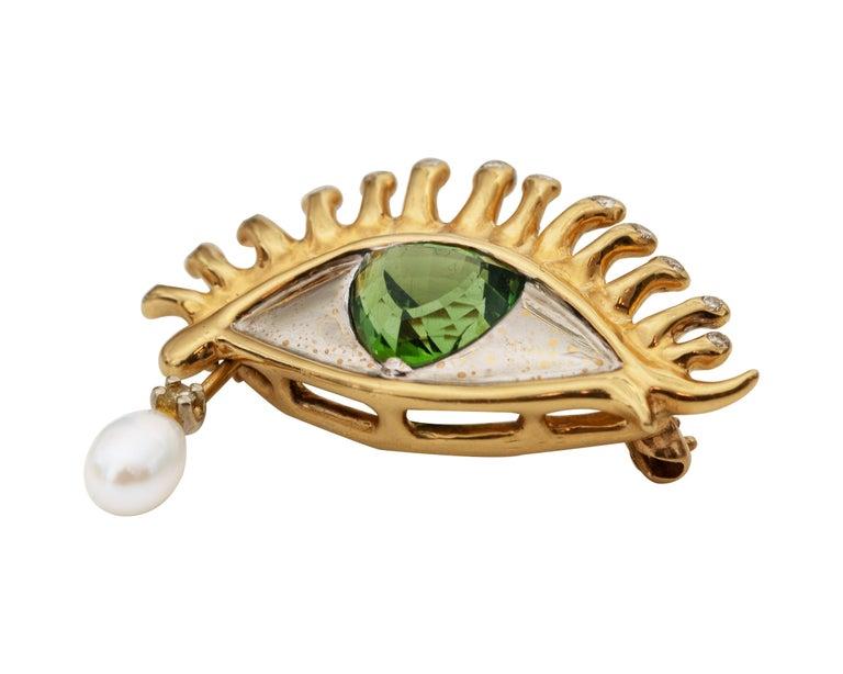 Modern 1980s All Seeing Eye Pendant Brooch in 18 Karat Gold For Sale