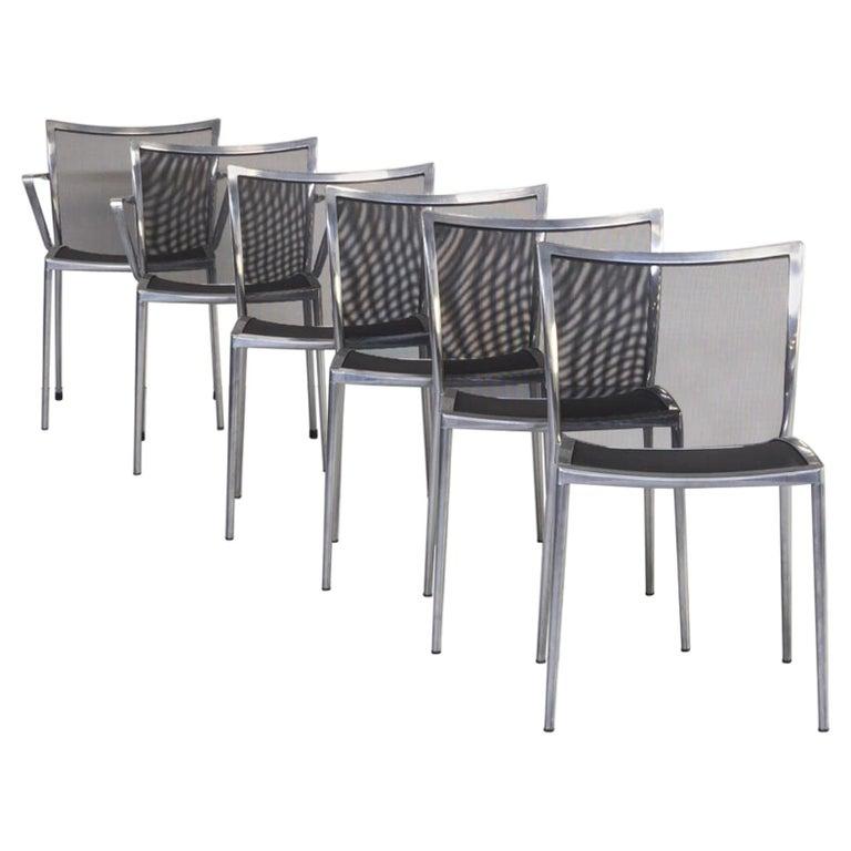 1980s Aluminium and Netwaeve Dining Chairs for Zanotta, Set of 6