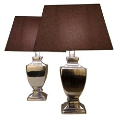 1980s Aluminum Polished Table Lamps