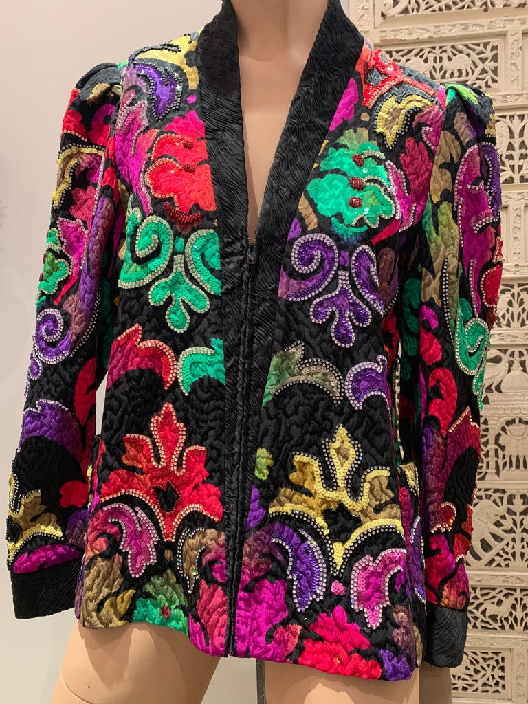 1980s Amen Wardy Colorful Sequin & Rhinestone Embellished Silk Matelasse Jacket For Sale 7
