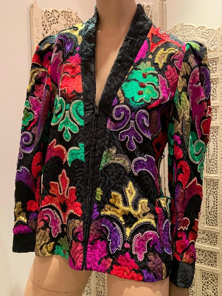 1980s Amen Wardy Colorful Sequin & Rhinestone Embellished Silk Matelasse Jacket For Sale 8