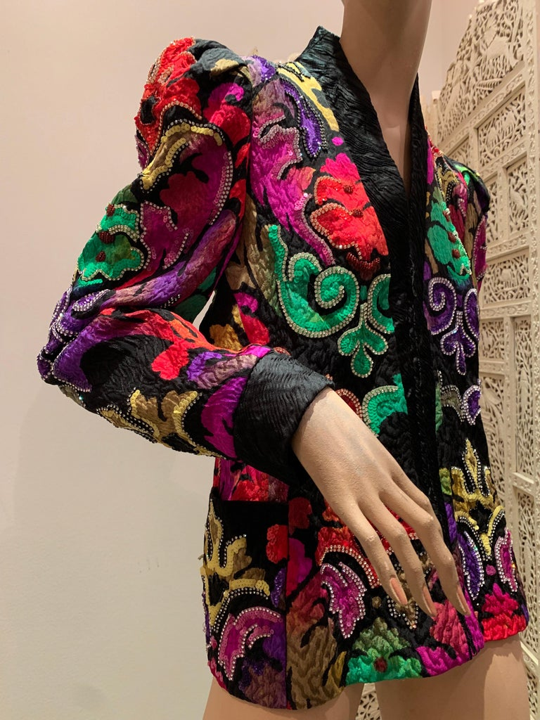 1980s Amen Wardy Colorful Sequin & Rhinestone Embellished Silk Matelasse Jacket In Excellent Condition For Sale In San Francisco, CA